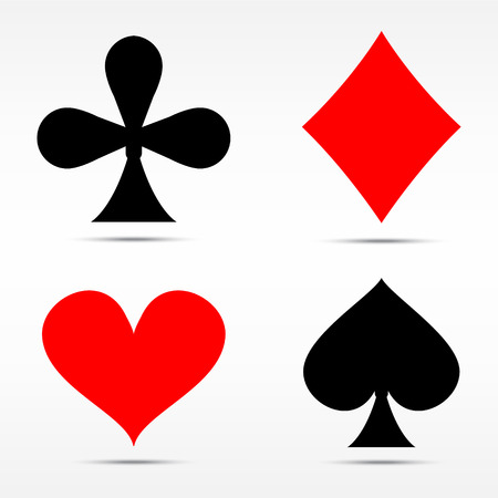 ace of hearts: Raster illustration set of playing card suits isolated on white background.  Spades, hearts, diamonds and clubs