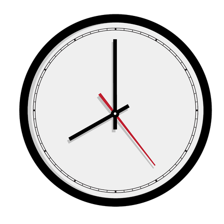 ticker: Raster simple classic black and white round wall clock isolated on white. Clock on wall shows eight oclock  Stock Photo