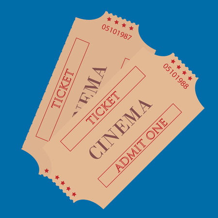tin packaging: Raster illustration old cinema tickets for cinema. Retro cinema tickets  on blue background