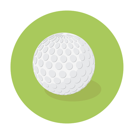 dimple: Raster illustration white golf ball flat icon green background.
