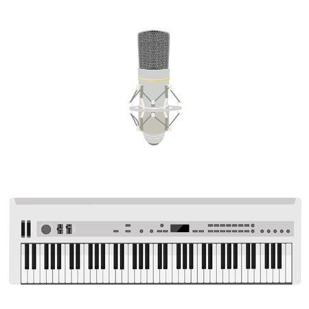 Raster illustration white vintage microphone and synthesizer. Musical instrument Stock Photo