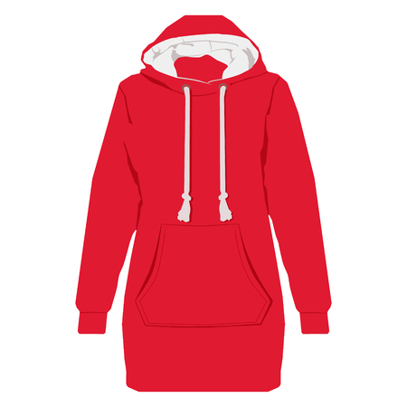 Raster ilustración chaqueta deportiva unisex roja con mangas largas, bolsillo y capucha. Plantilla de camisa con capucha