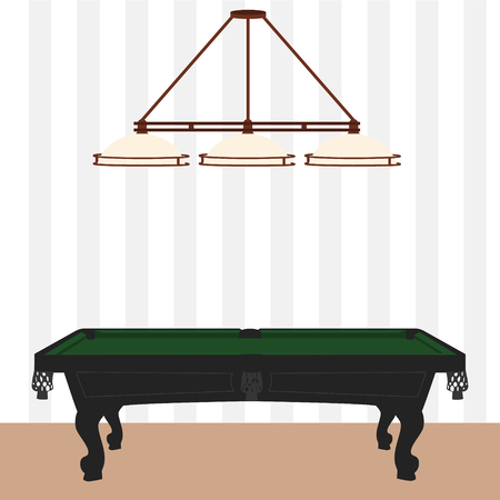 snooker rooms: Raster illustration retro, vintage pool table with green cloth and lamp with three shades. Empty billiard table