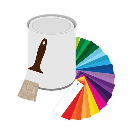 Raster illustration colored swatches and paint cans with paintbrush on white background. Color guide