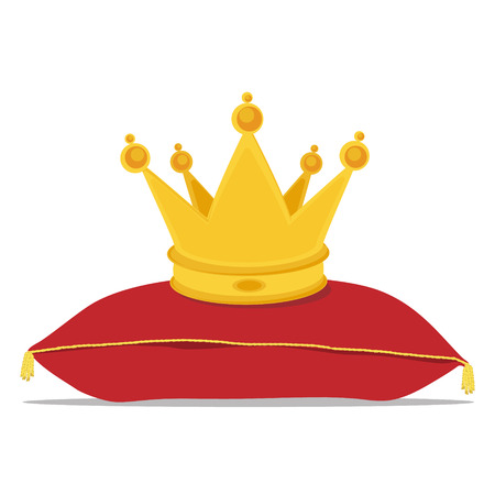 Raster illustration golden crown on the red pillow. Royal crown on velvet pillow