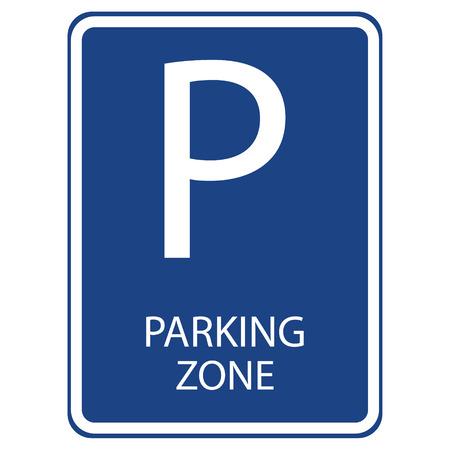 Raster illustration blue car parking zone sign. Parking space. Blue roadsign with letter P on rectangular plate