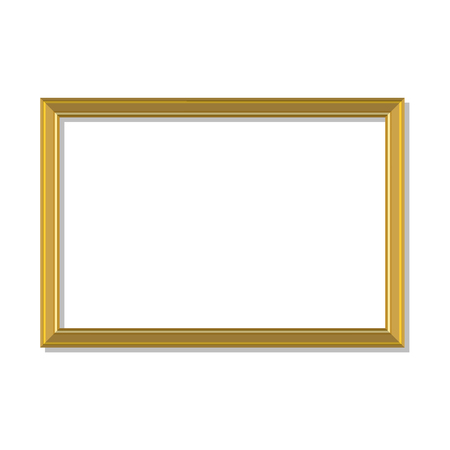 art museum: Raster illustration golden, gold picture frame. Photo frame. Empty gold frame hanging on the wall Stock Photo