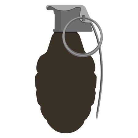 granade: Raster illustration grenade explosive bomb military, army weapon. Granade icon. Armed attack explode Stock Photo