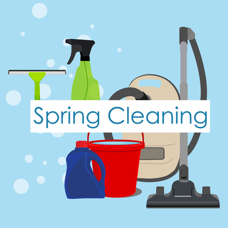 squeegee: Raster illustration spring cleaning with cleaning equipment. Housework appliance - bucket, vacuum cleaner, bottle, spray and window squeegee. Spring cleaning background, card