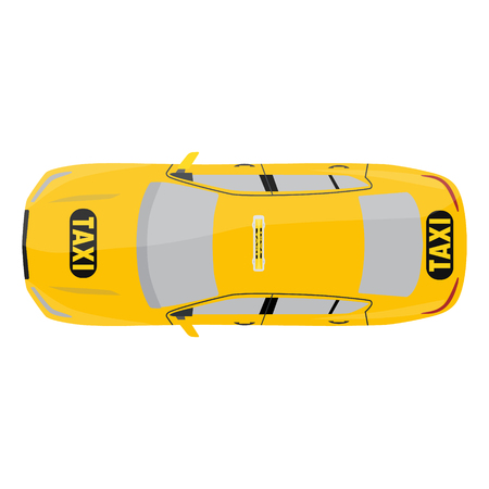 Raster illustration yellow taxi car top view. Public transportation company taxicab