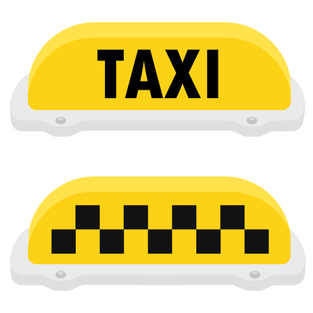 Raster illustration yellow taxi sign or symbol icon set. Taxi service. Stock Photo