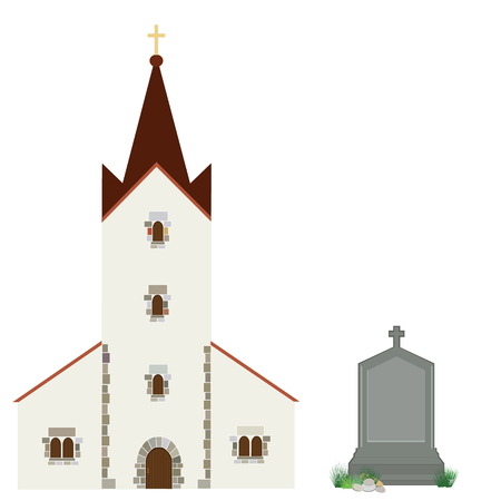 Raster illustration church building and grey gravestone with cross. Church icon. Christianity catholic Stock Photo