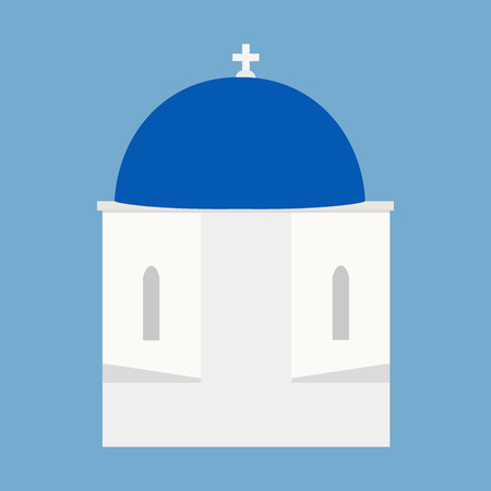 Raster illustration blue and white greek Santorini church or temple with cross