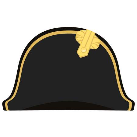 Raster illustration black Napoleon Bonaparte hat. General bicorne hat
