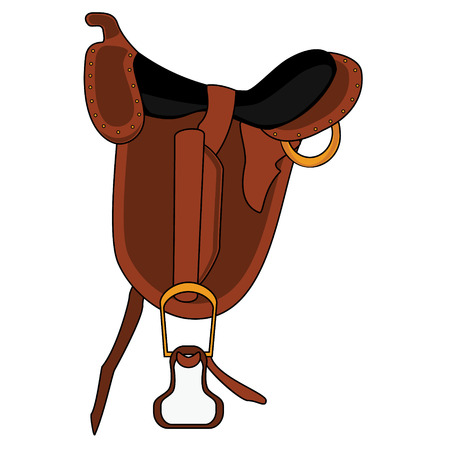 Raster illustration brown leather saddle. Embroidery for equestrian sport. Horse saddle flat icon