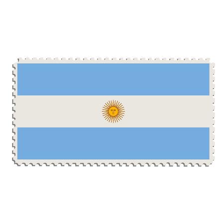 Raster illustration flag of Argentina on postage stamp.  Argentinian flag on post stamp Stock Photo