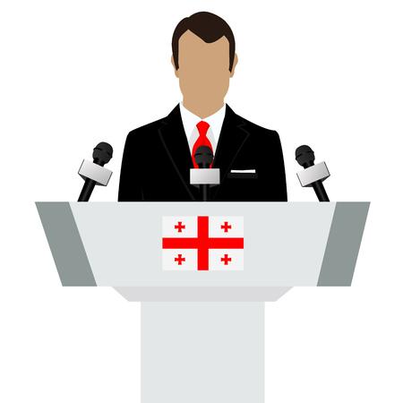 official ballot: Raster illustration presentation conference concept. Speaker, man in suit speaking from tribune. Georgia, georgian flag on podium tribune