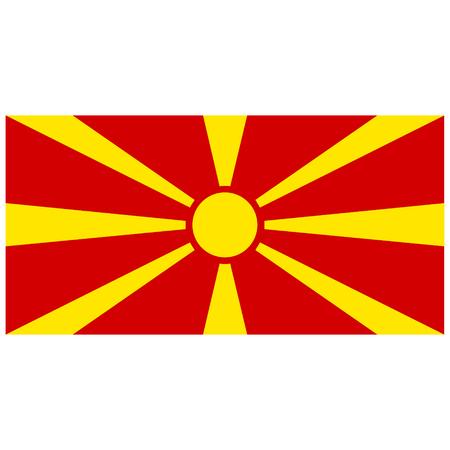 Raster illustration Macedonia flag raster icon. Rectangular national flag of Macedonia. Macedonia flag button Stock Photo