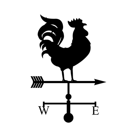 weathervane: Raster illustration rooster weather vane. Black silhouette rooster, cock. Weather vane symbol, icon