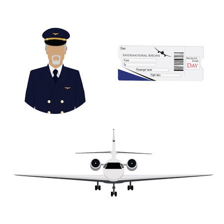 Luchtvaartmaatschappij instapkaart ticket met QR2 code ontwerpsjabloon, professionele piloot, kapitein avatar en vliegtuig vliegen in de lucht.