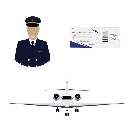 Airline boarding pass ticket with QR2 code design template, professional pilot, captain avatar and airplane flying in the sky.