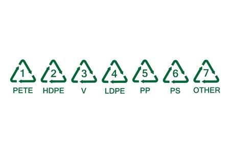 Collectie groene plastic recycling symbolen.