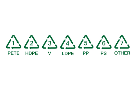 collection green plastic recycling symbols.