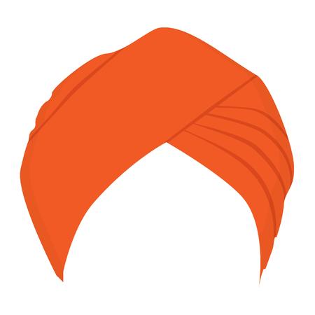 Naranja, turbante, tocado, icono.