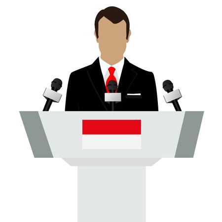 declare: Raster illustration presentation conference concept. Speaker, man in suit speaking from tribune. Indonesia, Indonesian flag on podium tribune