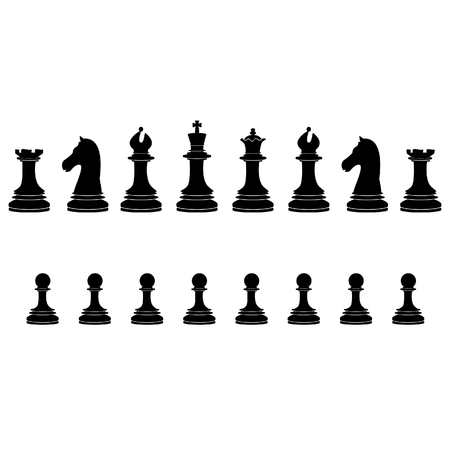named person: Sixteen black chess pieces raster icon set - with king, queen, bishop, knight, rook, pawn Stock Photo