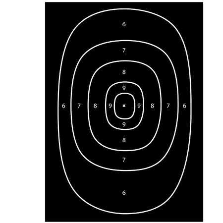 Black shooting target raster, shooting range, bullseye, gun target