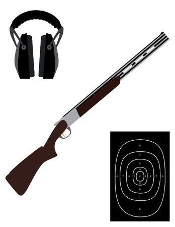 Skeet rifle, shooting target and headphones for shooting, hunting rifle, sport equipment