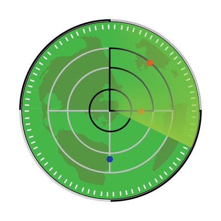 Raster illustration of green radar screen. Radar icon Stock Photo
