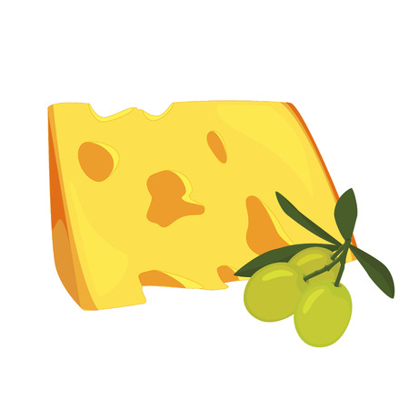Raster illustration cheese slice and green olives. Cut of cheese piece icon Stock Photo
