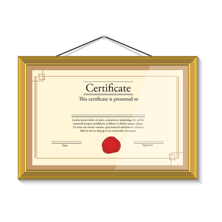 stock certificate: Raster illustration of certificate template with red wax stamp in golden picture frame hanging on the wall. Certificate border. Modern certificate