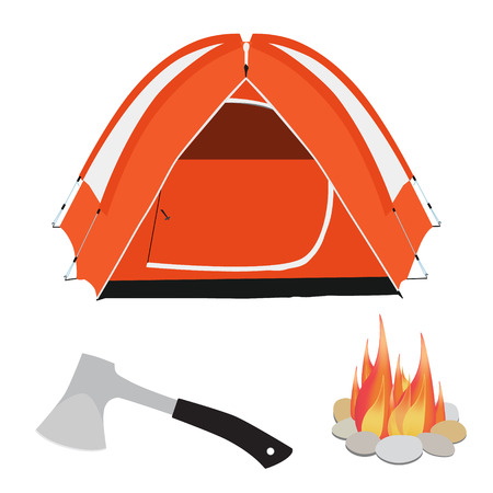 Camping equipment orange camping tent, campfire with stones and axe with black handle raster illustration