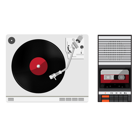 Vinyl player with vinyl record. Old, disco, gramophone. Raster illustration vintage audio tape recorder. Stock Photo