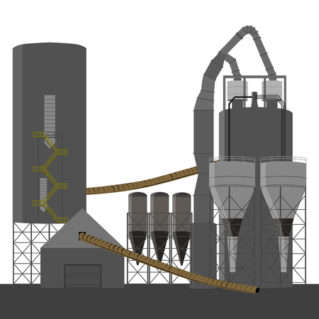 oil and gas industry: raster illustration factory building for the production of concrete. Industrial building with chimney.