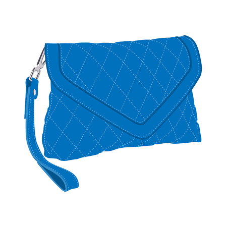clutch cover: Raster illustration blue fashion clutch bag. Clutch purse. Evening bag Stock Photo