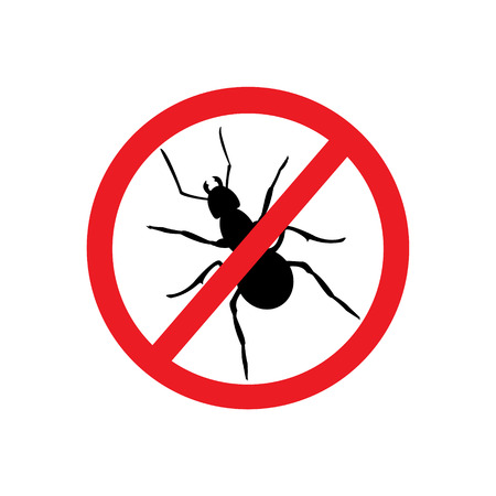 Raster illustration no ant sign, symbol. Ant insect household pests. Insect prohibition sign, ant prohibition sign. Ant silhouette
