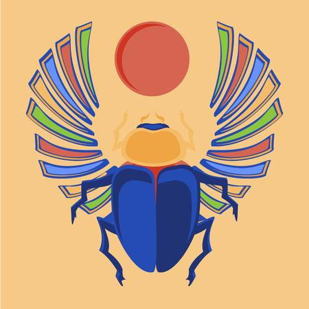 Raster illustration egyptian scarab beetle. Egyptian icons. Colorful the Egyptian sacred bug a scarab a symbol of the sun Stock Photo
