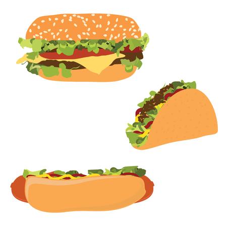 Raster illustration american fast food hotdog, burger hamburger or cheeseburger and traditional mexican fast food taco. Stock Photo