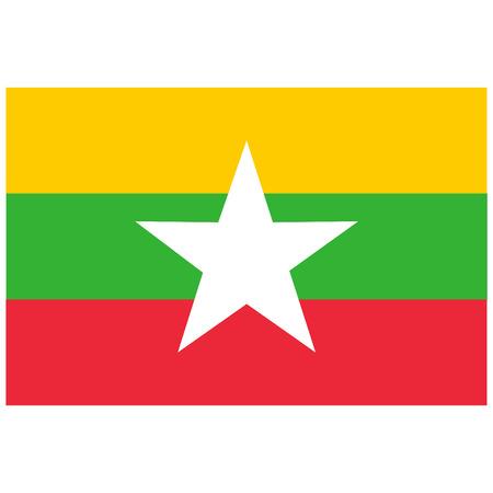 burmese: raster illustration flag of Myanmar icon. Rectangle national flag of Myanmar. Myanmar flag button Stock Photo