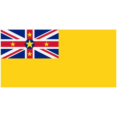 raster illustration flag of Niue icon. Rectangle national flag of Niue. Niue flag button