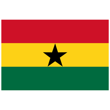 raster illustration flag of Ghana icon. Rectangle national flag of Ghana. Ghana flag button