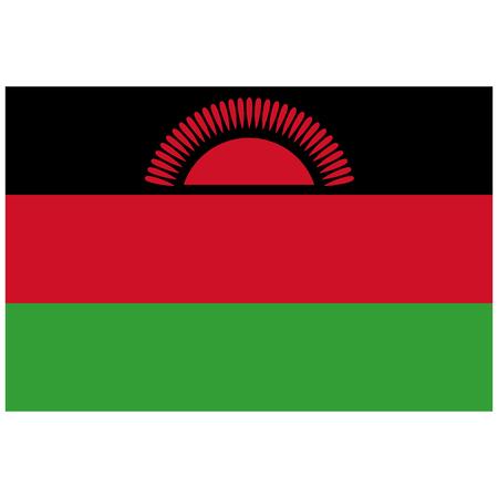 proportion: raster illustration flag of Malawi icon. Rectangle national flag of Malawi. Malawi flag button