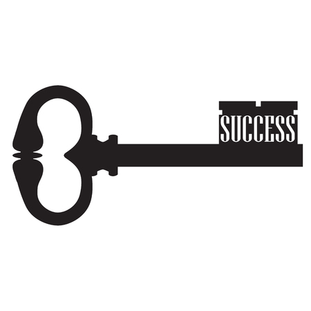 achievement concept: Raster illustration old key black silhouette. Concept key of success, meaning overcoming difficulties, goals achievement, opportunities for business development. Stock Photo