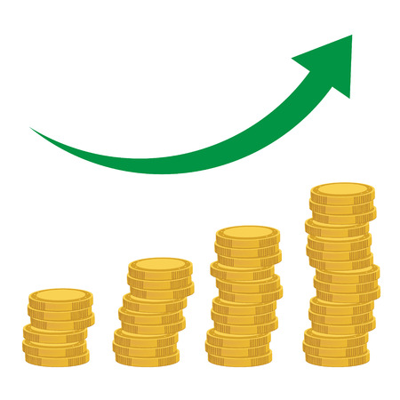 Illustration of coins, coins diagram, money growth. Rising graph Stock Photo