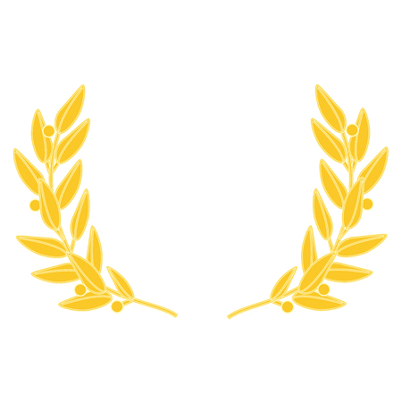 Raster illustration golden wreath isolated on white background. Laurel wreath
