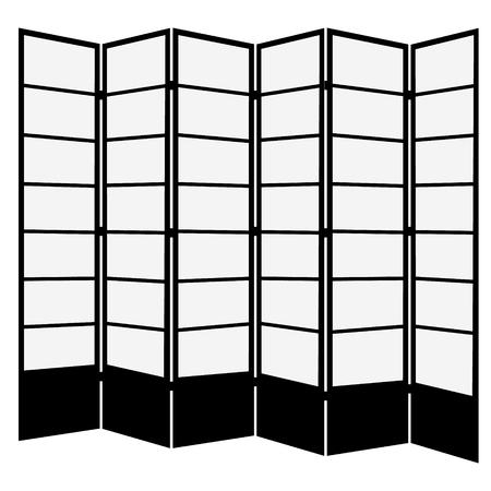 Raster illustrazione tradizionale giapponese nero pieghevole schermo. Sei pannelli in legno. Archivio Fotografico